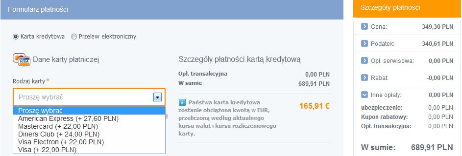 opłata kartą płatniczą na tripsta.pl