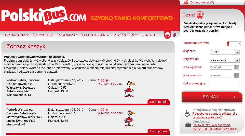 Polski Bus bilety po 1 PLN