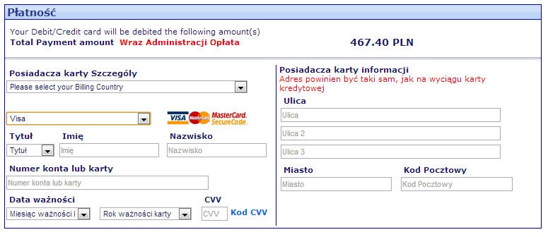 Visa - bilety Ryanair'a bez rabatu