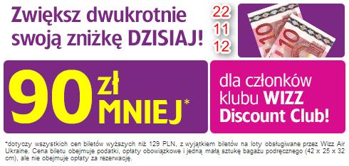 90 PLN taniej za bilety Wizz Air