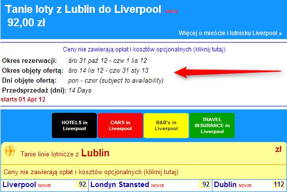 tanie loty z Lublina do Liverpoolu