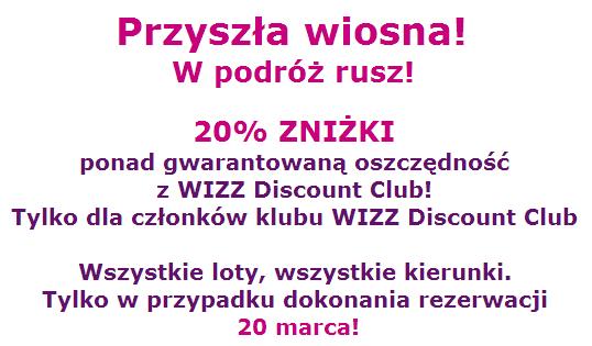 20 procent rabatu dla uczestników Wizz Discount Club
