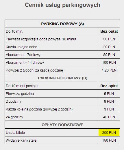 Lotnisko Lublin cennik usług parkingowych