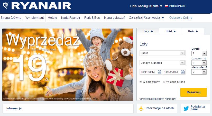 Nowa strona Ryanair
