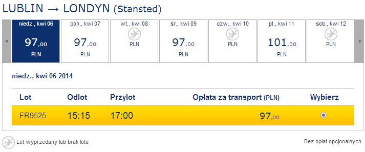 loty z Lublina do Londynu