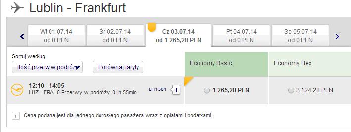 Koszt podróży na trasie Lublin Frankfurt