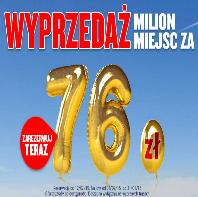 Ryanair nilion biletow za 76 PLN