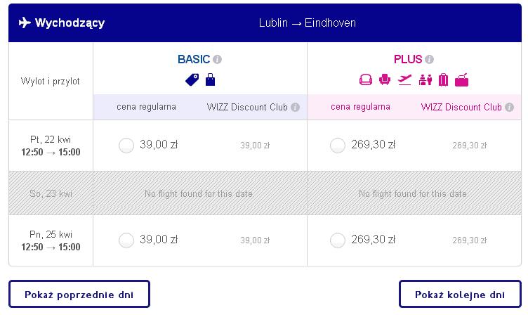 Lublin Eindhoven loty za 39 PLN