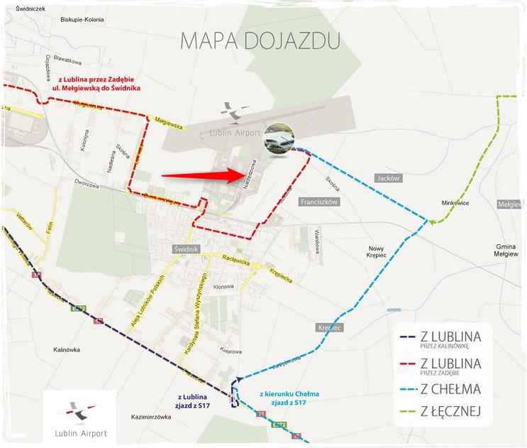 Mapa dojazdu do lotniska w Świdniku
