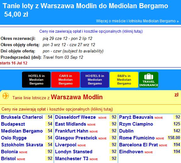 Rynair z Warszawa Modlin, lotyzlublina.pl