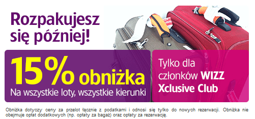 rabat 15 procent Wizz Air