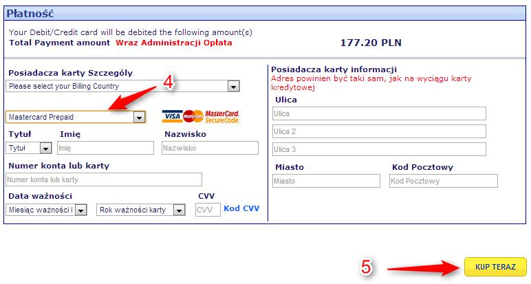 Bilety Ryanair płatność MasterCard Prepaid