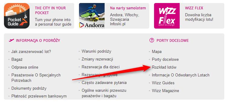 Bilety Wizz Air wyszukiwanie z zakładki Rozkład lotów