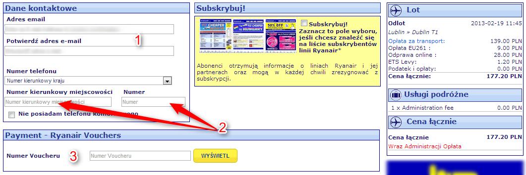 Ryanair bilety dane kontaktowe