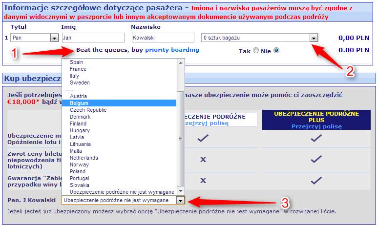 Ryanair dane pasażera
