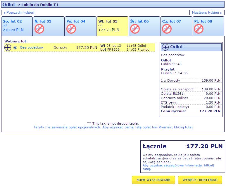 Ryanair wybór dni podróży i ceny biletu