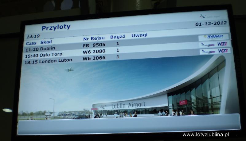 Lotnisko Lublin tablica przylotów