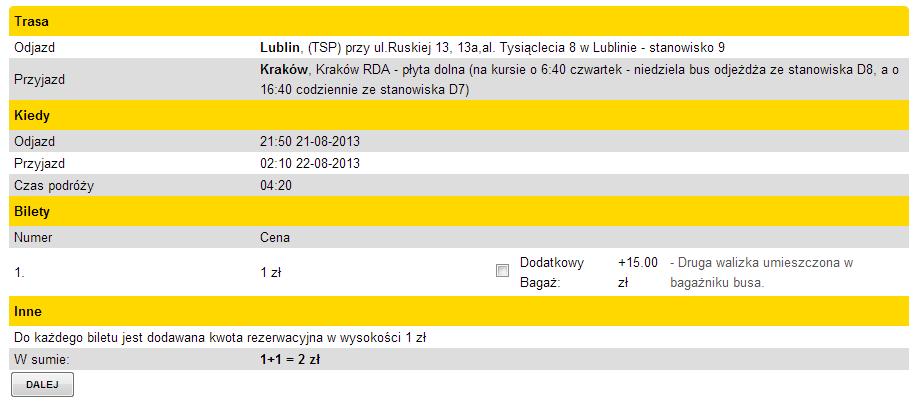 tani bus z Lublina do Krakowa