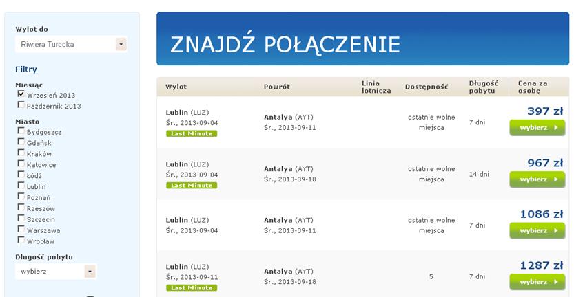 last minute z Lublina Antalya