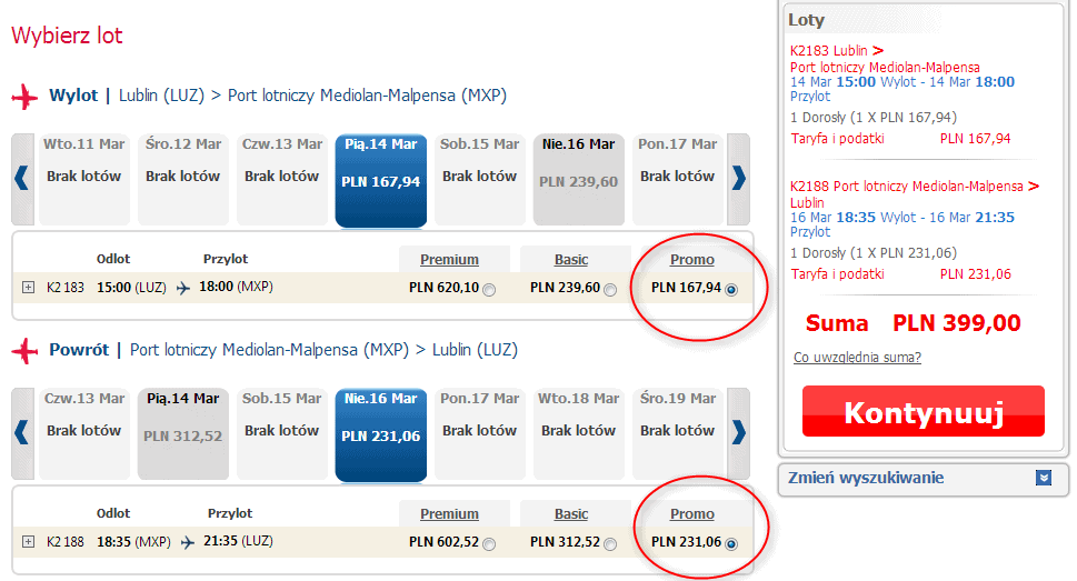 Bilety lotnicze Lublin Mediolan w promocji PROMO za 399 PLN tylko do 6 stycznia