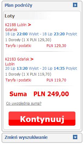Lublin Gdańsk za 249 PLN