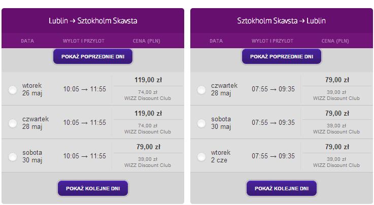 bilety lotnicze Lublin Sztokholm