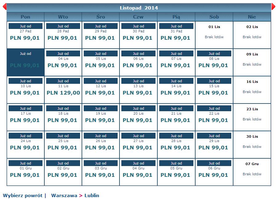 Warszawa Lublin Eurolot w cenie 99,01 PLN