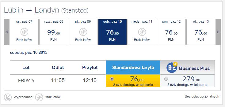 Londyn z Lublina za 76 PLN